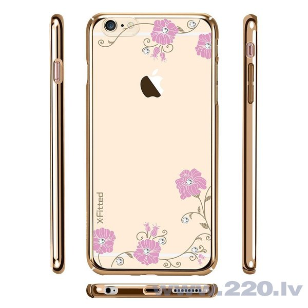 X-Fitted Plastic Case With Swarovski Crystals for Apple iPhone 6 / 6S Gold / Graceland lētāk