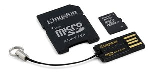 Kingston microSDHC 16GB Class4 + SD un USB adapteris