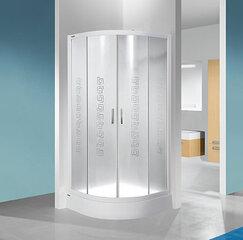 Stūra dušas kabīne Sanplast TX KP4/TX4b 90s, profils matēts sudrabs, dekorēts stikls grey, ar paliktni cena un informācija | Dušas kabīnes | 220.lv