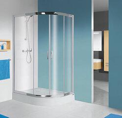 Stūra dušas kabīne Sanplast TX KP4/TX5b/L 80x100s, profils glancēts sudrabs, caurspīdīgs stikls W0, ar paliktni