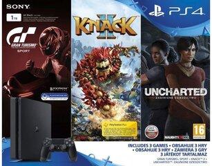Sony PlayStation 4 (PS4) Slim, 1 TB + GT Sport + Knack 2 + Uncharted: The Lost Legacy цена и информация | Игровые консоли | 220.lv