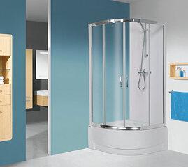 Stūra dušas kabīne Sanplast TX kpl-KP4/TX5b/165 80s, profils glancēts sudrabs, caurspīdīgs stikls W0, ar paliktni