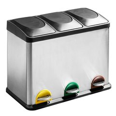 Atkritumu tvertne ar pedāli, 3 daļas (3x15 l) cena un informācija | Vannas istabas aksesuāri | 220.lv