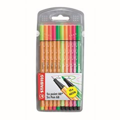 Pildspalvas Stabilo POINT 10 krāsas cena un informācija | Modelēšanas un gleznošanas piederumi | 220.lv