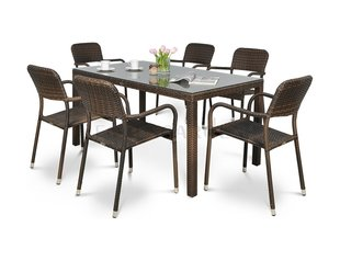 Комплект садовой мебели из семи частей Optima/Venecja, коричневый цена и информация | Комплекты садовой мебели | 220.lv