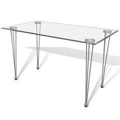 vidaXL virtuves galds, caurspīdīgu stikla virsma cena un informācija | Virtuves galdi, ēdamgaldi | 220.lv