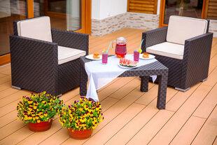 Комплект мебели для сада Patio Rattan Davos, коричневый / белый