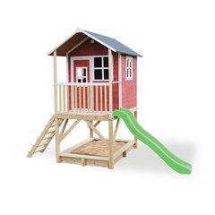 Koka māja ar verandu, slidkalniņu un smilšu kasti, sarkana, EXIT Loft 500 (FSC 100%)