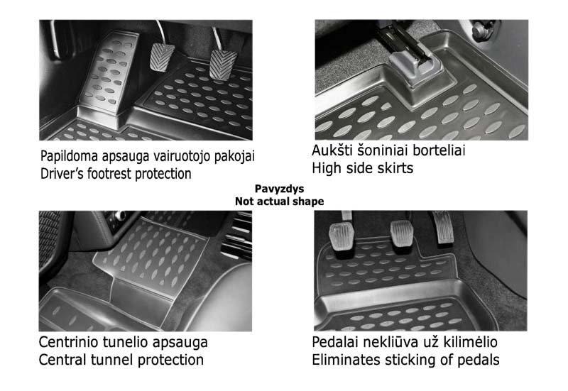 Guminiai kilimėliai 3D SSANGYONG Actyon Sports 2012->, 4 pcs. /L58003