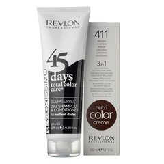 Šampūns un balzams 2in1 + maska tumšiem matu toņiem Revlon Radient Darks 45 Days 275 ml + 100 ml