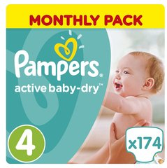 Autiņbiksītes PAMPERS Active Baby Monthly Box 4.izmērs 174 gab.