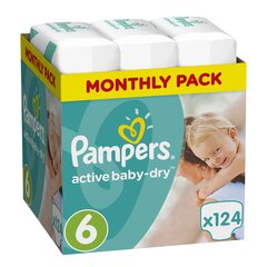 Autiņbiksītes PAMPERS Active Baby Monthly Box 6.izmērs 124 gab.