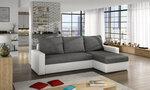 Universāls stūra dīvāns Livio, balts/pelēks