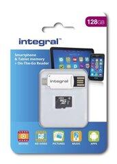 Atmiņas karte Integral Ultima Pro X microSDHC/XC, klase 10 UHS-I, 128GB + OTG adapteris un karšu lasītājs cena un informācija | Atmiņas kartes mobilajiem telefoniem | 220.lv