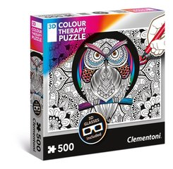 "Пазл с 3D очками Color Therapy ""OWL"" Clementoni, 500 д. цена и информация 
