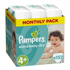 Autiņbiksītes PAMPERS Active Baby Monthly Box 4+ izmērs, 152 gab.