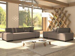 Mīkstu mēbeļu komplekts Porto, pelēks cena un informācija | Dīvāni un krēsli | 220.lv