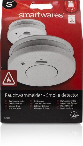 Dūmu detektors ar bateriju komplektā Smartwares RM250, 2 gab.