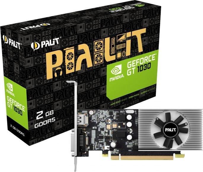 Palit GeForce GT 1030 2GB GDDR5 (64 bit), DVI-D, HDMI, BOX (NE5103000646F) cena