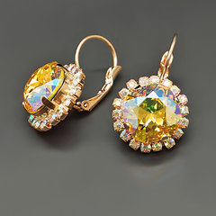 "Sieviešu auskari DiamondSky ""Glare III Light Topaz Shimmer"" ar Swarovski kristāliem"