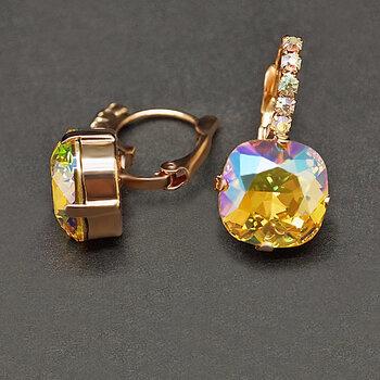 """Sieviešu auskari DiamondSky """"Glare VII (Light Topaz Shimmer)"""" ar Swarovski kristāliem"""
