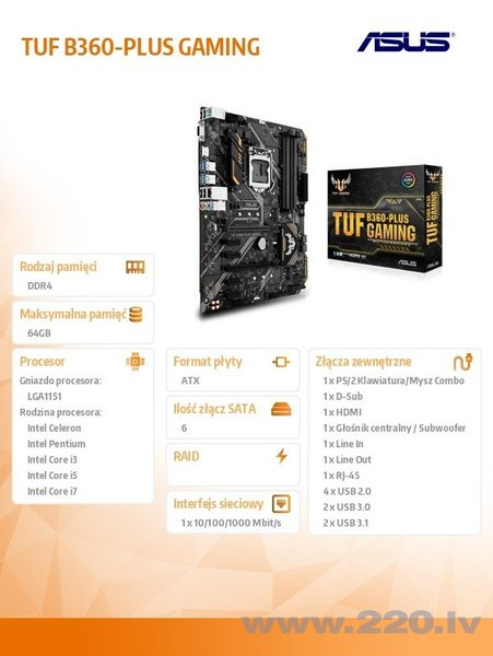 ASUS TUF B360-PLUS GAMING cena