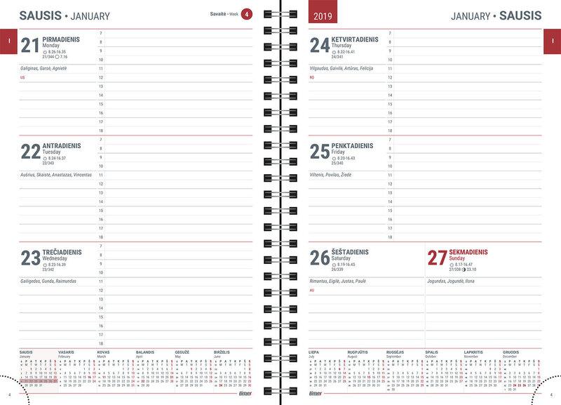 Kalendārs Timer Spirex Week 2019. gadam, A5 2417220219 tumši zaļš internetā