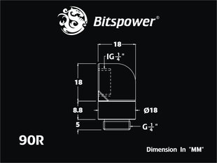 "BitsPower Angled 1/4 ""to G1/4"" - rotary, White (BP-DW90R)"