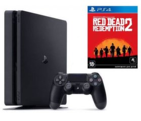 Sony PlayStation 4 (PS4) Slim, 500 GB + Red Dead Redemption 2