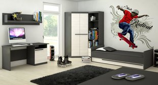 Bērnu istabas mēbeļu komplekts Trend, melns/balts
