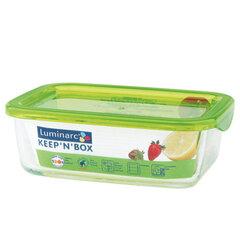 LUMINARC taisnstūra hermētisks trauks ar zaļu vāciņu Keep 'n' Box, 760 ml cena un informācija | Trauki pārtikas uzglabāšanai | 220.lv