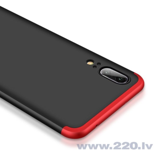 360 Telefona priekšējais un aizmugurējais aizsargs, telefona maciņš Huawei P20 melns/sarkans