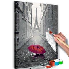 Jūsu veidota glezna uz audekla Paris (Red Umbrella) 100 x 100 cm
