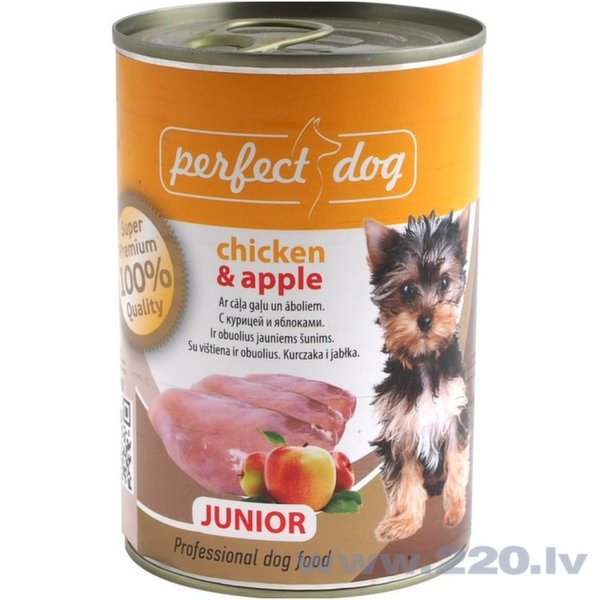 Perfect Dog jauniem kucēniem ar vistu un āboliem Junior, 400 g