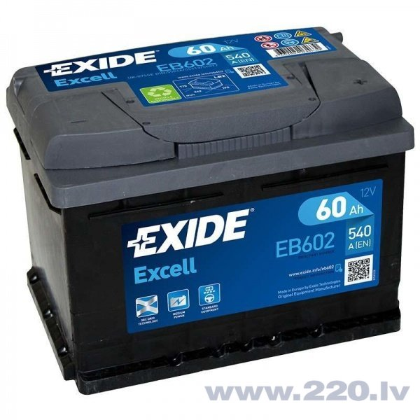 Akumulators EXIDE EB602 60 Ah 540 A