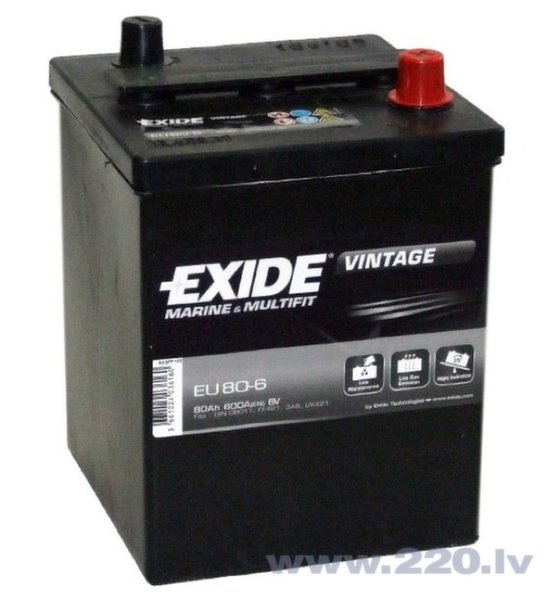 Akumulators EXIDE EU80-6 80 Ah 600 A