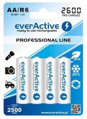 everActive Professional Ready to Use 2600mAh AA akumulators, 4 gab. cena un informācija | Baterijas | 220.lv