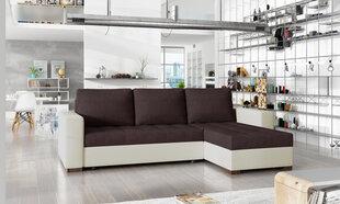 Universāls stūra dīvāns Newark, tumši brūns/balts cena un informācija | Dīvāni un krēsli | 220.lv