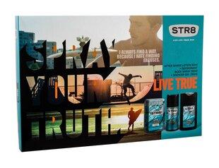 Komplekts STR8 Live True vīriešiem: losjons pēc skūšanās 50 ml + izsmidzināms dezodorants 150 ml + atsvaidzinoša dušas želeja 250 ml