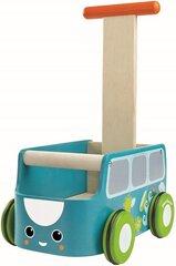 Koka stumjamā rotaļlieta autobusiņš Plan Toys, zils, 212128