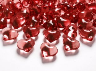 "Konfeti kristāli ""Sarkanās sirdis"" (30 gab./21 mm)"