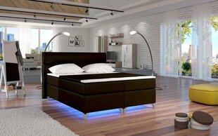 Gulta Amadeo ar LED apgaismojumu, 140x200 cm, mākslīgā āda, tumši brūna