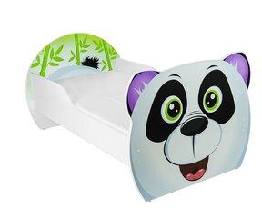 Gulta ar matraci Panda, 160x90 cm, balta/melna