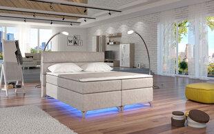 Gulta Amadeo ar LED apgaismojumu, 180x200 cm, gobelēns, krēmkrāsas