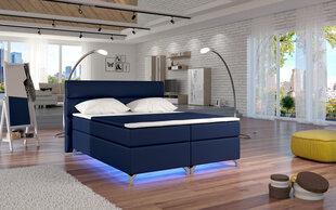 Gulta Amadeo ar LED apgaismojumu, 140x200 cm, mākslīgā āda, tumši zila