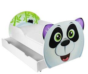 Gulta ar matraci un veļas kasti Panda, 140x80 cm, balta/melna