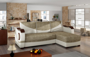 Universāls stūra dīvāns Puerto, brūns/krēmkrāsas