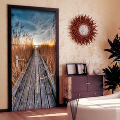 Foto tapete durvīm - Photo wallpaper - Pier on the lake I cena un informācija | Fototapetes | 220.lv