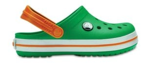 Apavi bērniem Crocs Kids' Crocband Clog, Grass Green/White/Blazing Orange