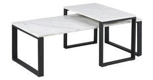 2-u kafijas galdiņu komplekts Katrine, melns/balts cena un informācija | Žurnālgaldiņi | 220.lv